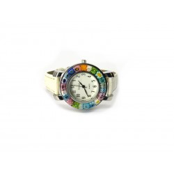 Murano millefiori watch, Chrome case - Mod. Space, White Strap (Available in 8 Colours)