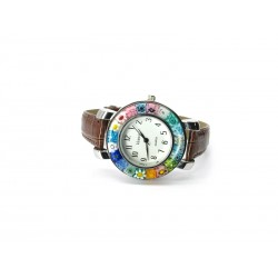 Murano millefiori watch, Chrome case - Mod. Space, Brown Strap (Available in 8 Colours)