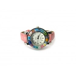 Murano millefiori watch, Chrome case - Mod. Space, Pink Strap (Available in 8 Colours)