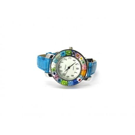 Orologio con vetro di Murrina Veneziana, cassa Cromata, Mod. Space (Cint. Azzurro)