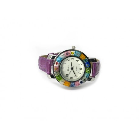 Murano millefiori watch, Chrome case - Mod. Space, Violet Strap (Available in 8 Colours)