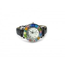 Murano millefiori watch, Chrome case - Mod. Space, Black Strap (Available in 8 Colours)