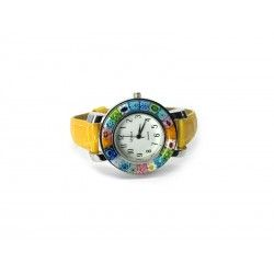 Murano millefiori watch, Chrome case - Mod. Space, Yellow Strap (Available in 8 Colours)