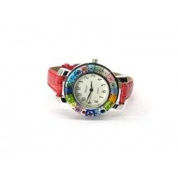 Murano millefiori watch, Chrome case - Mod. Space, Red Strap (Available in 8 Colours)