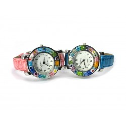 Murano millefiori watch, Chrome case - Mod. Space, (Available in 8 Colours)
