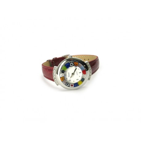 Murano millefiori watch, Chrome case with Strass - Mod. Star, Bordò Strap, (Available in 19 Colours)
