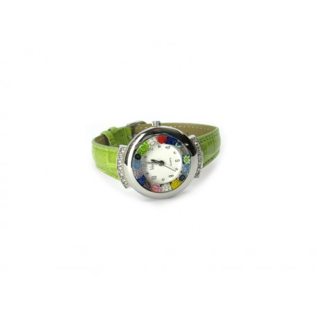 Murano millefiori watch, Chrome case with Strass - Mod. Star, Clear Green Strap, (Available in 19 Colours)
