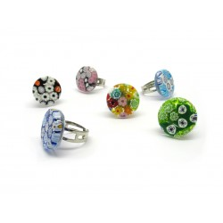New Mod. Ring in Murano Glass - Mod. Arlecchino (Available in 10 assorted Colours)