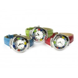 Murano millefiori watch, Chrome case with Strass - Mod. Star, Assorted Strap, (Available in 19 Colours)