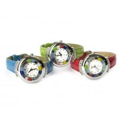Orologio con vetro di Murrina Veneziana, Mod. Star, cassa Cromata con Strass, Cint. Assortiti (Disponibile in 19 Colori)