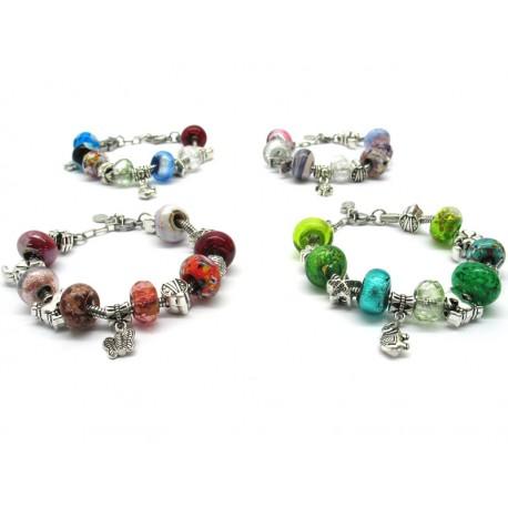 Pandora Style Glass Bracelet - Mod. Anita, 23 cm (Available in 6 Colours)