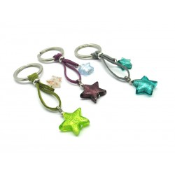 Murano Glass Keychain, made with glass Star Beads, (Available in assorted Colours)