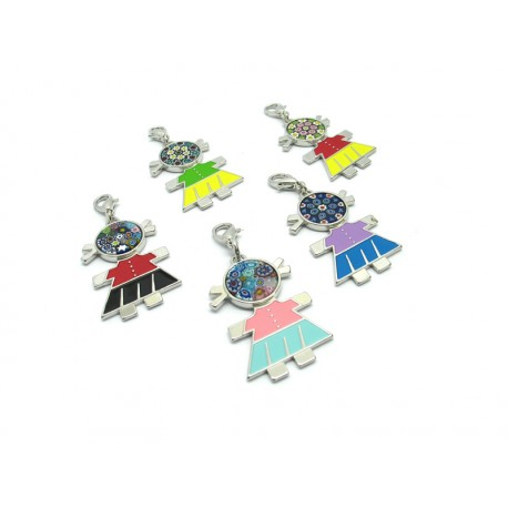 Murano Glass, Charms Bambolina, made with Murrina (Assorted Colors)