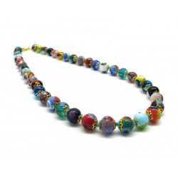 Murano Glass Necklace - Mod. Mosaico, 43 cm (Available in 5 shades of color)