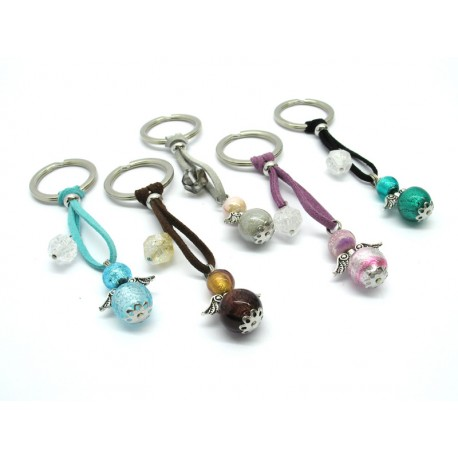 Murano Glass Keychain, made with glass Angel Beads, (Available in assorted Colours)