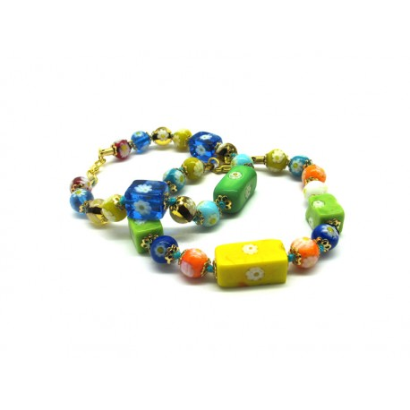 Murano Glass Bracelet - Mod. Cubo Mosaico, 21 cm (Available in Multicolor)