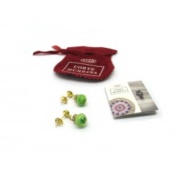 32 Pair Murano Glass Earrings, with rhinestone - Mod. Chiara, 8 mm (Available in Ass. Colours)