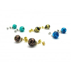 28 Pair Murano Glass Earrings, with rhinestone - Mod. Chiara, 12 mm (Available in Ass. Colours)