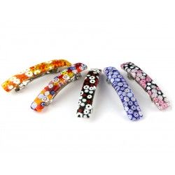 Murano Glass Hair Clips, rectangular big shape, 90x15 mm