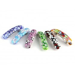 Murano Glass Hair Clips, rectangular small shape, 60x10 mm