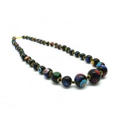 Murano Glass Necklace - Mod. Mosaico, 55 cm (Available in Black Color)