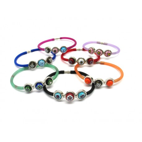 Bracelet in Murano Glass and Rubber - Mod. Carnevale 3 (Assorted Colours)