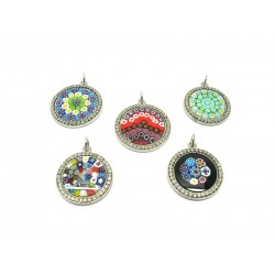 Metal pendant with Strass - Mod. MS-26 - Diam 26 mm (Available in 5 assorted Colours)