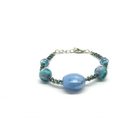 Murano Glass Bracelet - Mod. Valeria, 21 cm (Available in 4 Colours)