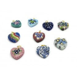 Heart Pendant in Murano Glass - Mod. Cuore, Diam. 13 mm (Available in 10 assorted Colours)