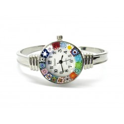 Murano Millefiori Bangle Watch, Case and Bracelet in Chrome Metal - Mod. Rialto