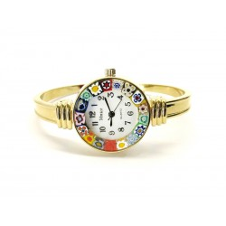Murano Millefiori Bangle Watch, Case and Bracelet in Golden Metal - Mod. Rialto
