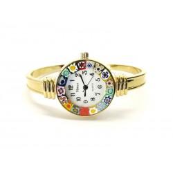 Orologio con vetro di Murrina Veneziana, Cassa e Bracciale Dorato - Mod. Rialto