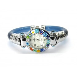 Murano Millefiori Bangle Watch, Azure plastic Bracelet, Chrome Case - Mod. Serenissima