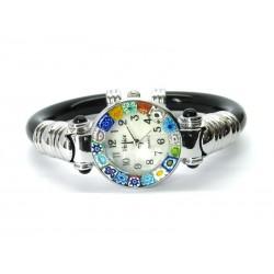 Murano Millefiori Bangle Watch, Black plastic Bracelet, Chrome Case - Mod. Serenissima