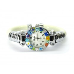Murano Millefiori Bangle Watch, Ivory plastic Bracelet, Chrome Case - Mod. Serenissima
