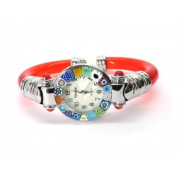 Murano Millefiori Bangle Watch, Red plastic Bracelet, Chrome Case - Mod. Serenissima