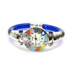 Murano Millefiori Bangle Watch, Blue plastic Bracelet, Chrome Case - Mod. Serenissima