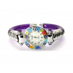 Murano Millefiori Bangle Watch, Violet plastic Bracelet, Chrome Case - Mod. Serenissima