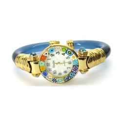Murano Millefiori Bangle Watch, Azure plastic Bracelet, Gold Case - Mod. Serenissima