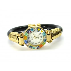 Murano Millefiori Bangle Watch, Black plastic Bracelet, Gold Case - Mod. Serenissima