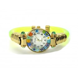Murano Millefiori Bangle Watch, Green L plastic Bracelet, Gold Case - Mod. Serenissima
