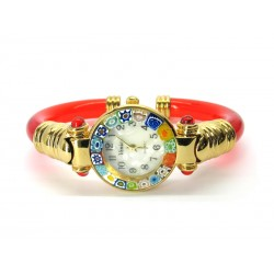 Murano Millefiori Bangle Watch, Red plastic Bracelet, Gold Case - Mod. Serenissima