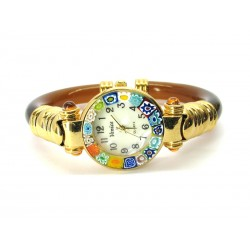 Murano Millefiori Bangle Watch, Brown plastic Bracelet, Gold Case - Mod. Serenissima