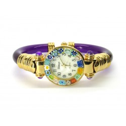 Murano Millefiori Bangle Watch, Violet plastic Bracelet, Gold Case - Mod. Serenissima
