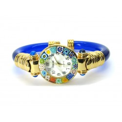 Murano Millefiori Bangle Watch, Blue plastic Bracelet, Gold Case - Mod. Serenissima