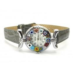 Orologio con vetro di Murrina Veneziana, cassa Cromata, Cint. Grigio - Mod. Lady (Disponibile in 21 Colori)