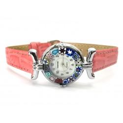 Orologio con vetro di Murrina Veneziana, cassa Cromata, Cint. Rosa - Mod. Lady (Disponibile in 21 Colori)