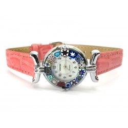 Murano millefiori watch, Chrome case - Mod. Lady, Pink Strap, (Available in 21 Colours)