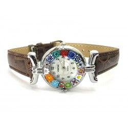 Murano millefiori watch, Chrome case - Mod. Lady, Brown Strap, (Available in 21 Colours)