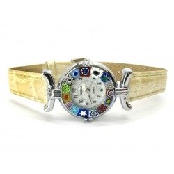 Murano millefiori watch, Chrome case - Mod. Lady, Ivory Strap, (Available in 21 Colours)